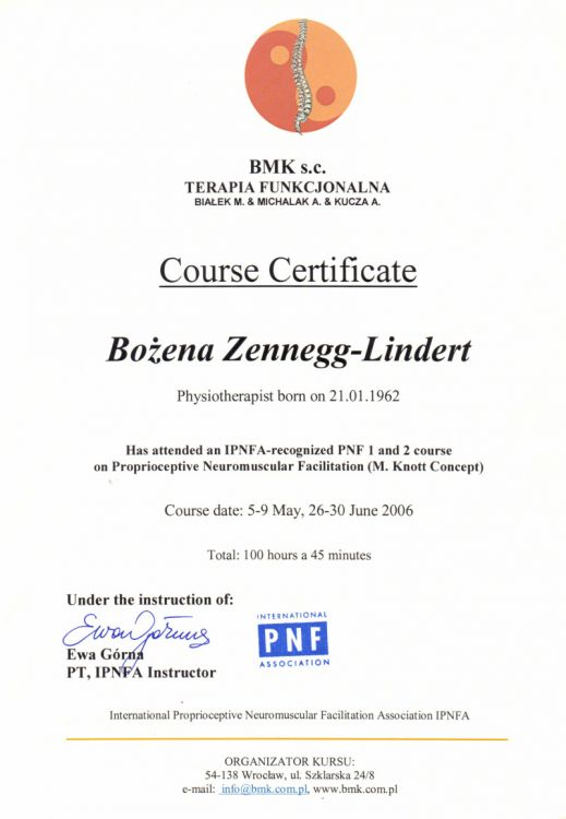 IPNFA-recognize PNF 1 and 2 course on Proprioceptive Neuromuscular Facilitation (M. Knott concept)
